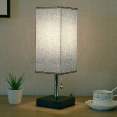 US Modern Bedside Table Desk Lamp Bedroom Night Light W/ Fabric Shade Iron Home & Garden