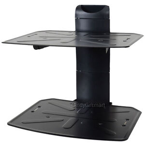 2 tier shelf dvd wall mount bracket under tv component cable box dvr holder ch4 ebay. Black Bedroom Furniture Sets. Home Design Ideas