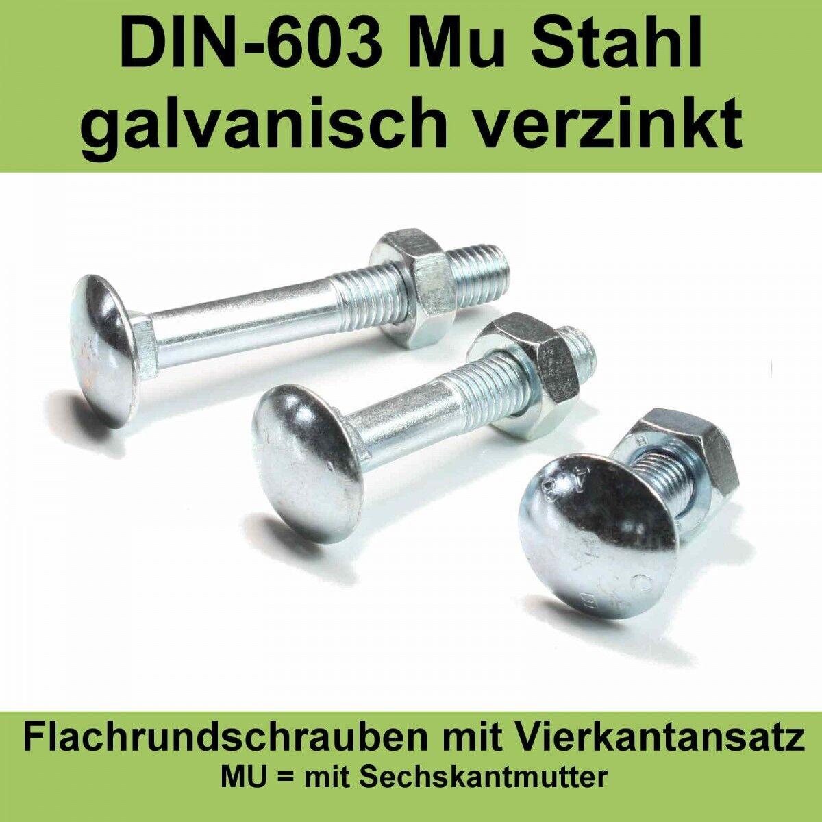 M6 DIN 603 Schloßschrauben mit Muttern verzinkt Flachrund-Schrauben Flach M6x