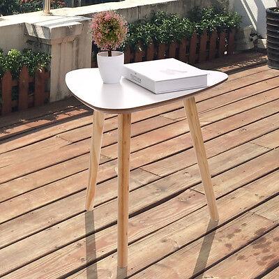 Bedroom Pine Side Table - Three Legs Modern Coffee End Side Table Pine Wood Tea Table White