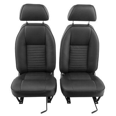 Triumph TR4 TR4A TR5 TR6 Seats Leather Faced Pair Black 646-560