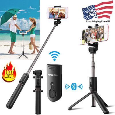 Extendable Selfie Stick Mount Tripod Bluetooth Remote Shutter For iPhone Samsung