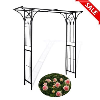 Metal Garden Arch Rose Arbour Heavy Duty Archway Plant Climber Black Decorative