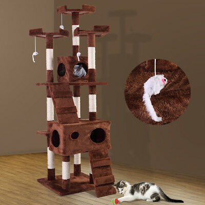 67  Pet Cat Tree Play House Tower Condo Bed Scratch Post Toy Balls Coffee