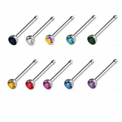 2 Stud 316L Nose Bone Ring Rings Stainless Steel Crystal CZ 18G 18 Gauge (Steel Nose Bone)