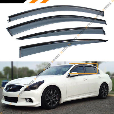 FOR 2007-2015 INFINITI G35 G37 G25 SEDAN VIP CLIP-ON BLACK OUT TRIM WINDOW VISOR for sale  La Puente