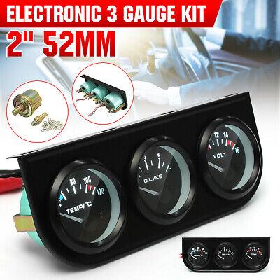 2/52mm 3 In 1 Voltmeter+Water Thermometer+Oil Pressure Electrical Gauge Meter