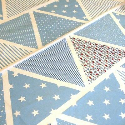 Fabric Blue Bunting Triangles Wedding Shabby Chic Floral Polka Dot Stripes Stars](Blue Bunting Fabric)