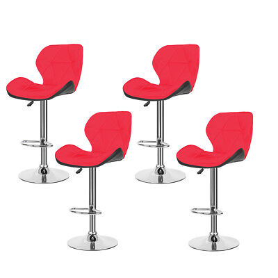 Set of 4 Modern Bar Stool PU Leather Seat Dining Chair Counter Kitchen Red NEW for sale  Chino
