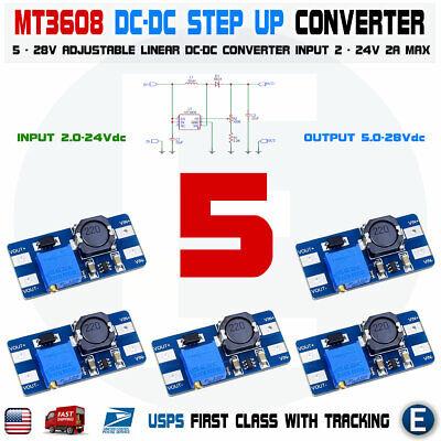 5pcs Mt3608 Dc 2a Step Up Power Booster Module 2v-24v Boost Converter Arduino Us