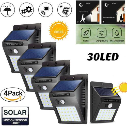 4X Solarleuchte mit Bewegungsmelder 30LED Solarstrahler Außenleuchte Gartenlampe