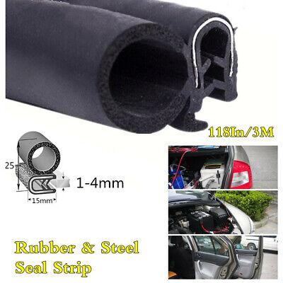 118In Car Door Boot Bonnet Edge Protector Seal Strip Rubber&Steel Trim Molding