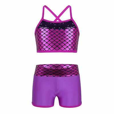 Girls Swimsuit For Kids Dancing Two Piece Leotard Costume Tank Top With Shorts