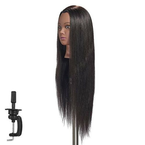Cosmetology Mannequin Head Hair Styling Training Doll Head Clamp Synthetic Fiber