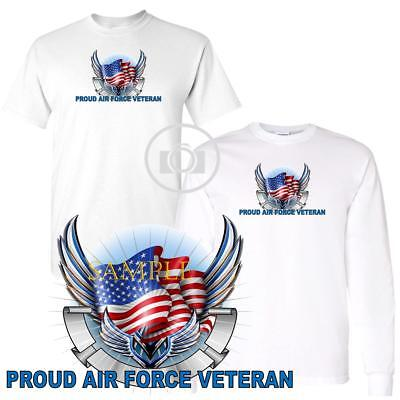 Air Force Long Sleeve T-shirt - Air Force Veteran Pride Wings And Flag Graphic Short Long Sleeve White T Shirt