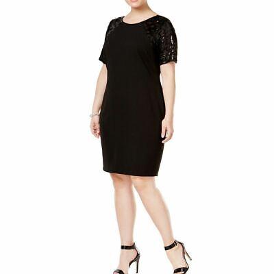 CALVIN KLEIN NEW Women's Black Plus Size Sequined-sleeve Sheath Dress 20W TEDO