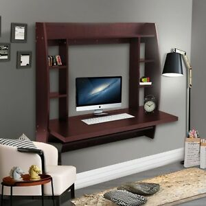 Wall Mount Floating Computer Desk Laptop Table W/Storage Shelves Bedroom BN