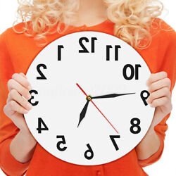 Reverse Anti Wall Clock Modern Backwards Time Run Counter Clockwise Wall Watch