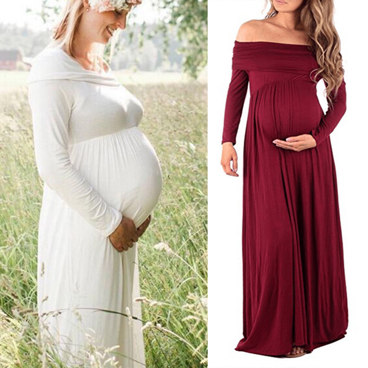 Women\'s Maternity Off Shoulder Dress Pregnant Ladies Long Sleeve ...