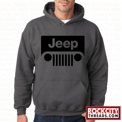 Jeep Wrangler Sweatshirts (JEEP CHARCOAL HOODIE Hooded Pullover Sweatshirt Wrangler Cherokee Road Off Sport )