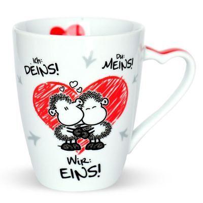Sheepworld Tasse Kaffeetasse Eins Liebe love Schaf Geschenk Valentinstag 300 ml