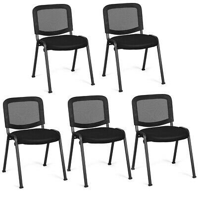 5-set Mesh Back Office Room Conference Chair Comfort Reception Seat Black