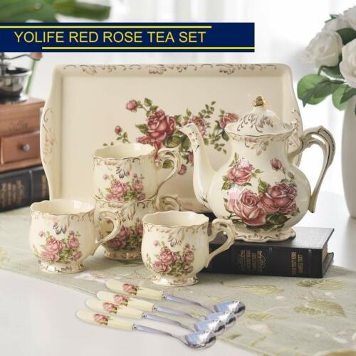 Red Rose Ivory Ceramic Tea Set,Vintage Tea Set With Teapot