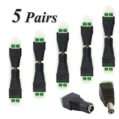 10PCS Male Female 2.1x5.5mm DC Power Jack Plug Adapter Connector for CCTV LED