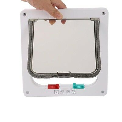 White 4-Way Medium Pet Cat Kitten Small Lockable Safe Flap Door US - Cat Flap Pet Door