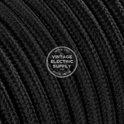 Black Round Cloth Covered Electrical Wire - Braided Rayon Fabric Wire