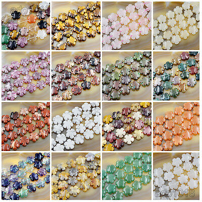 - 20mm Natural Gemstone Flower Shape Loose Beads 10PCS Jewelry Design Pick Stone