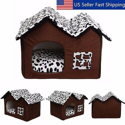 Indoor Pet Dog House Cage Bed Kennel Puppy Cat Cabin Cushion Mat Pad Washable US
