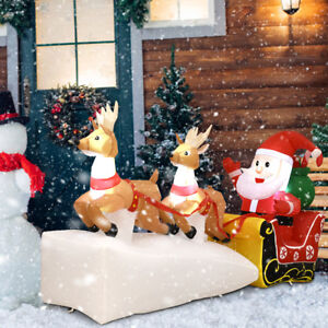 7 christmas decoration inflatable santa claus on sleigh 2 reindeers outdoor