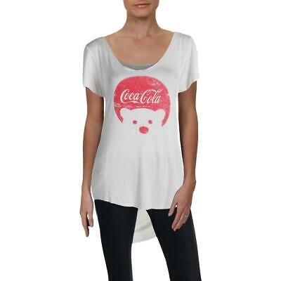 Recycled Karma Womens Coca-Cola Polar Bear Logo Hi-Low Tee T-Shirt Top BHFO 8924