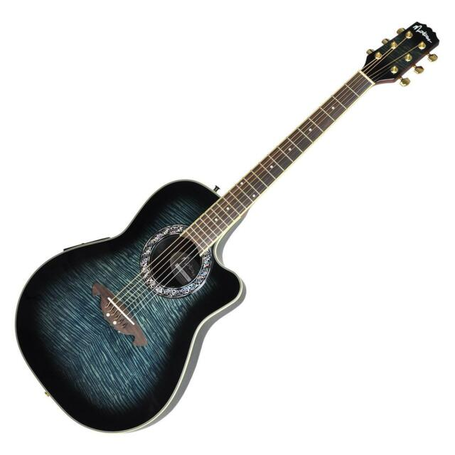 New Martinez  'Flame Finish' Acoustic-Electric Roundback Cutaway Guitar (Black)