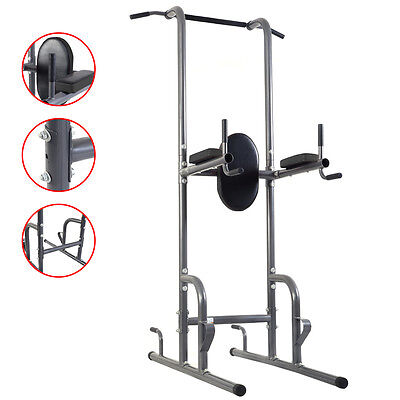 Dip Station Chin Up Tower Rack Pull Up Weight Stand Bar Raise Workout Home Gym