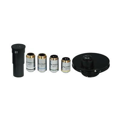 Microscope Phase Contrast Kit 10x 20x 40x 100x Objectives Green Filter