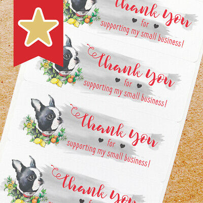 Thank You Labels Stickers For Online Shop Sellers 100ct - Frenchie Dog