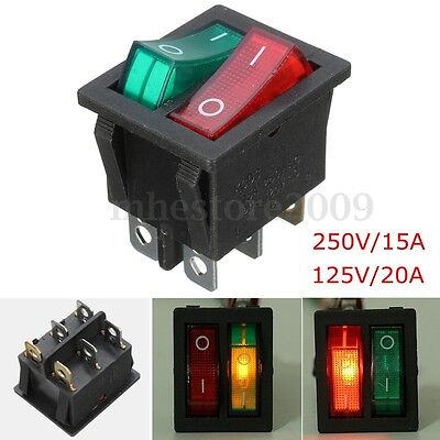 6 Pin Onoff Double Spst Rocker Boat Switch 250v15a 125v20a Red Green Light