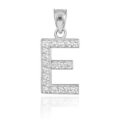 "10k White Gold Letter ""E"" Initial Pendant Necklace with Diamonds 0.19ctw"