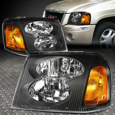 FOR 2002-2009 GMC ENVOY PAIR BLACK HOUSING AMBER CORNER BUMPER HEADLIGHT/LAMP