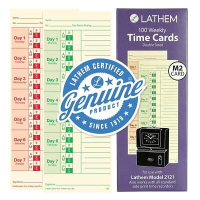 Lathem Weekly Time Cards Double-sided For Lathem Model 2121side-print Time