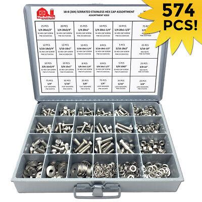 18-8 Stainless Steel Hex Cap Screw Bolt Nut Washer 304 Assortment Kit - 574 Pcs