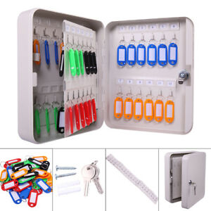 48 Metal Safe Hook Key Box w/Tag Home Car Lock Storage Case Cabinet Wall Mount
