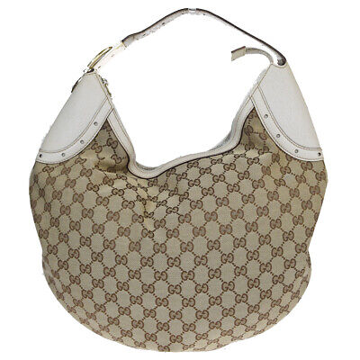 Authentic GUCCI GG Logos Hobo Shoulder bag Canvas Leather Brown Italy 09BM849