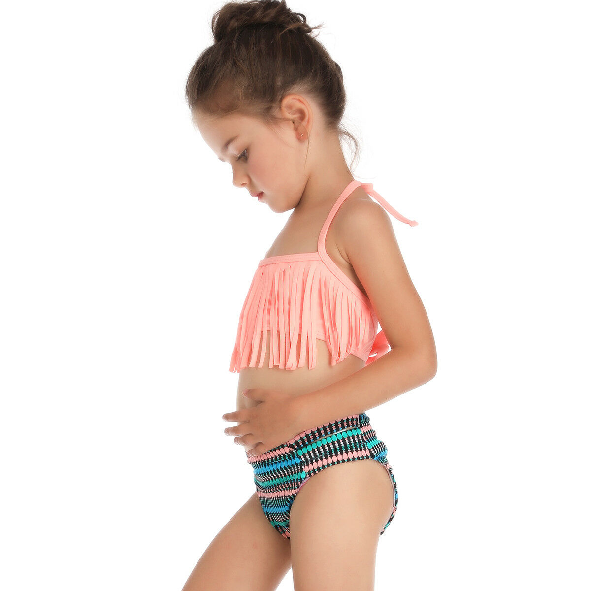 d9af946bf02069 Details about 2-6 Years Kids Two Piece Tassel Fringe Bikini Set Little Girls  Swimwear Swimsuit