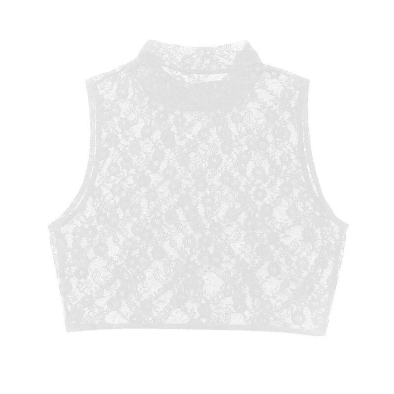 a79fcb56 Women Sheer Mesh Lace Crop Top Shirt Sleeveless Tank Tops Vest ...