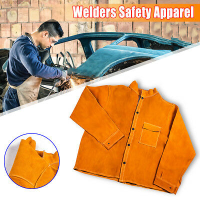 Welder Jacket Protective Coat Cow Leather Apron Welding Welders Safety Apparel