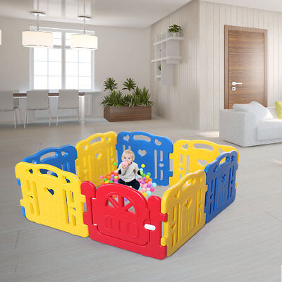 Baby Playpen 8 Panel Safety Play Center Yard Kids Home Indoor Outdoor Pen Yellow