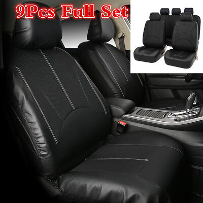 9Pcs/Set Best Quality PU Leather Front/Rear Car Seat Covers Black For Car